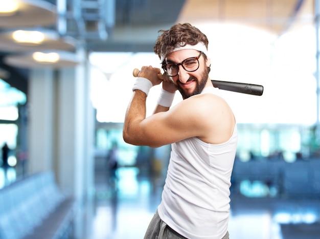 Crazy sport man boze uitdrukking