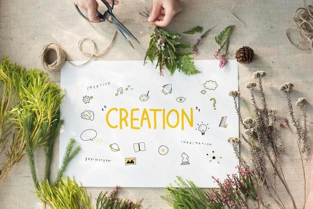 Creatie-ideeën light bule verbeeldingskunsten ontwikkelingsconcept