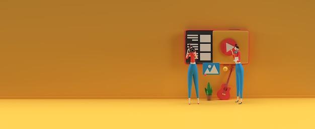Creatief 3d renderontwerp voor webbanner bedrijfspresentatie online adverteren
