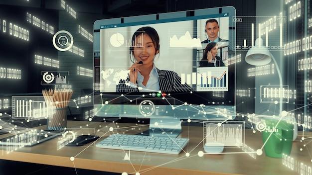 Creatief beeld van zakenmensen in een zakelijke personeelsvergadering op videogesprek