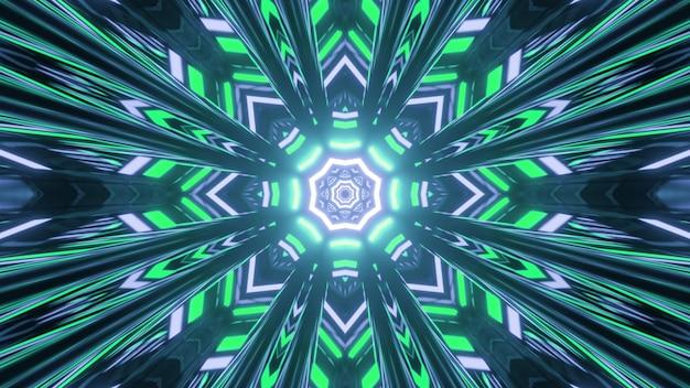 Creatief caleidoscopisch sneeuwvlokvormig patroon met felle lichten in beweging in 3d-afbeelding