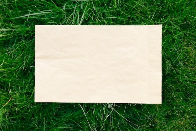 Creatief compositiekader voor lay-out gemaakt van groen gazongras met een ambachtelijke papieren zak, plat leggen en kopieerruimte voor het logo.