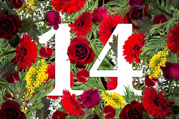 Creatief concept met bloemen voor valentijnsdag, bloem achtergrond, plat lag, bovenaanzicht