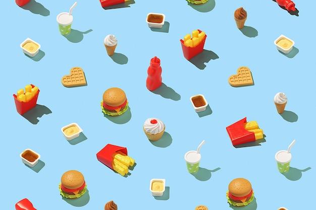 Creatief fastfoodconcept. naadloos snel voedselpatroon op een helderblauwe achtergrond.