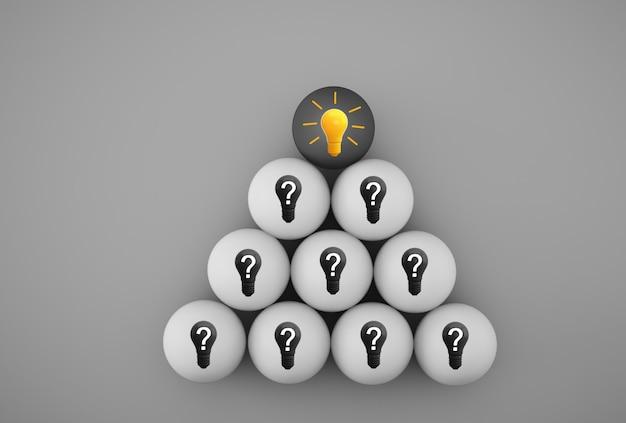 Creatief idee en innovatie. gele gloeilamp die een idee met vraagsymbool openbaart
