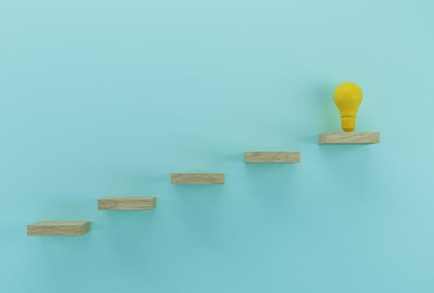 Creatief idee en innovatie. gloeilamp die een idee openbaart op houten achtergrond