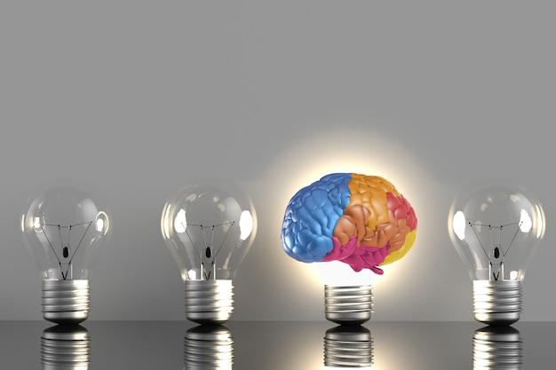 Creatief idee met 3d-rendering kleurrijke hersenen en idee gloeilamp