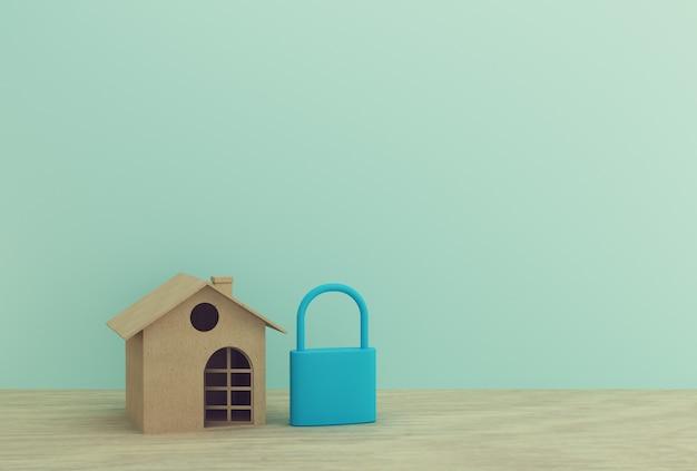 Creatief idee van huis modeldocument en blauw zeer belangrijk slot op houten lijst. onroerend goed investeringen onroerend goed en huis hypotheek financieel.