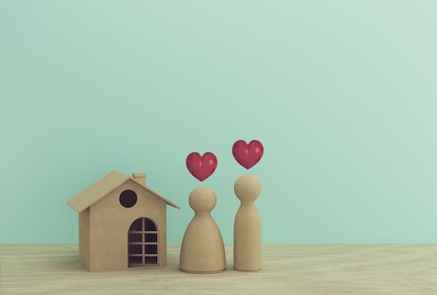 Creatief idee van huis modeldocument en familie op houten lijst. financieel beheer van gezinnen, voorschot in contanten: geeft leningen op korte termijn weer voor een woning.
