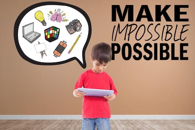Creatief kind met inspirational uitdrukking