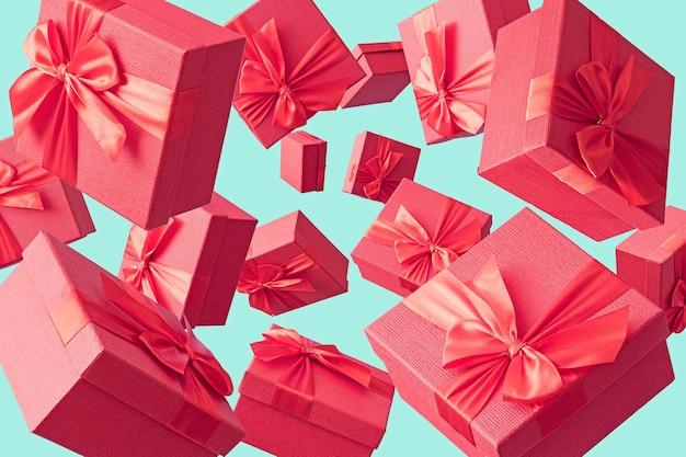 Creatief minimaal concept met geschenkdozen om te winkelen of bruiloft of valentijnsdag. retro stijl.