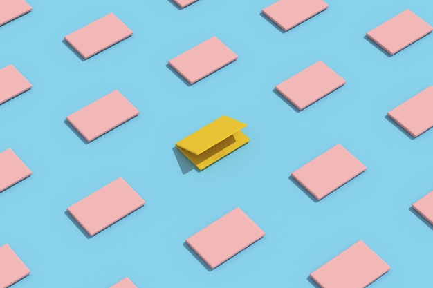 Creatief minimaal concept. uitstekende gele laptop met roze laptop