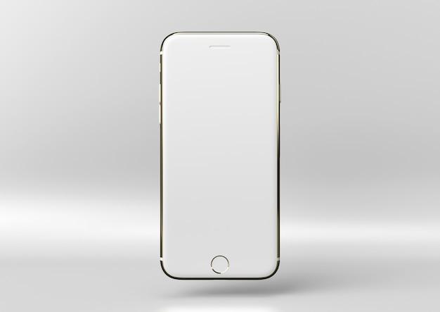 Creatief, minimaal luxe productidee. concept witte en gouden iphone met witte achtergrond.