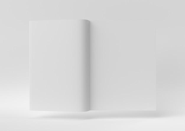 Creatief minimaal papieridee. concept wit boek met witte achtergrond. 3d render, 3d illustratie.