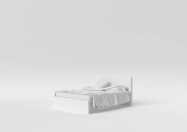 Creatief minimaal papieridee. concepten wit bed met witte achtergrond. 3d render, 3d illustratie.