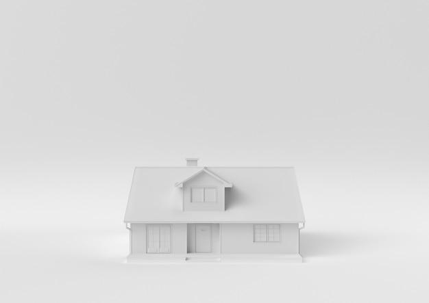 Creatief minimaal papieridee. concepten wit huis met witte achtergrond. 3d render, 3d illustratie.