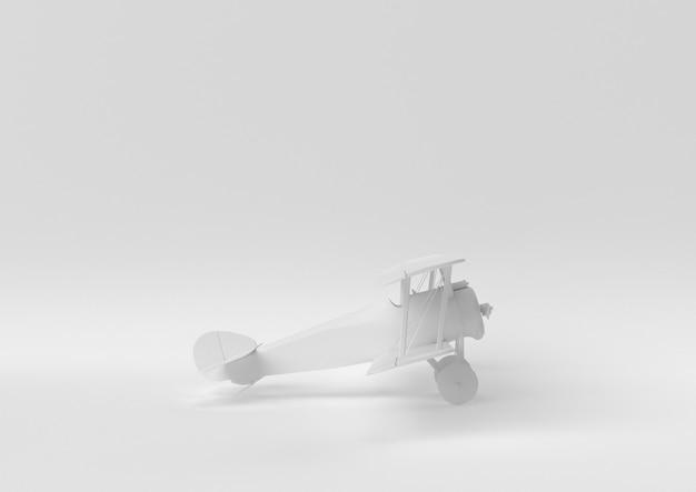 Creatief minimaal papieridee. concepten wit vliegtuig met witte achtergrond. 3d render, 3d illustratie.