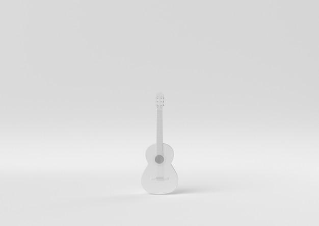 Creatief minimaal papieridee. concepten witte gitaar met witte achtergrond. 3d render, 3d illustratie.