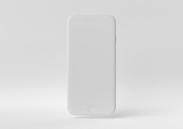 Creatief minimaal papieridee. concepten witte iphone met witte achtergrond. 3d render, 3d illustratie.