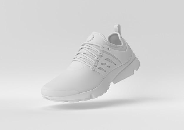 Creatief minimaal papieridee. concepten witte schoen met witte achtergrond. 3d render, 3d illustratie.