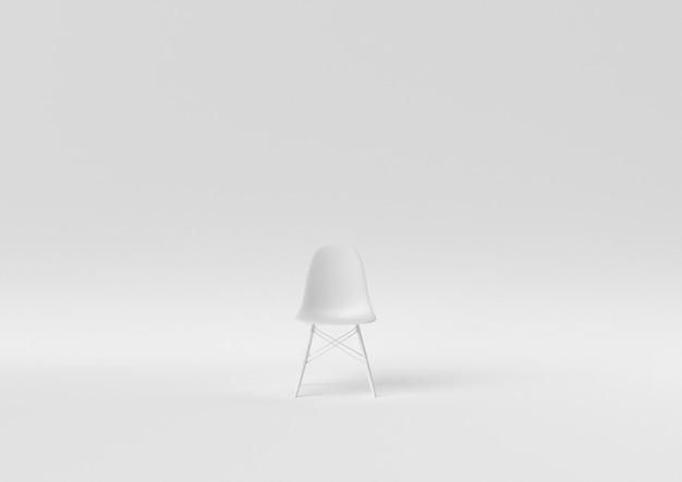 Creatief minimaal papieridee. concepten witte stoel met witte achtergrond. 3d render, 3d illustratie.