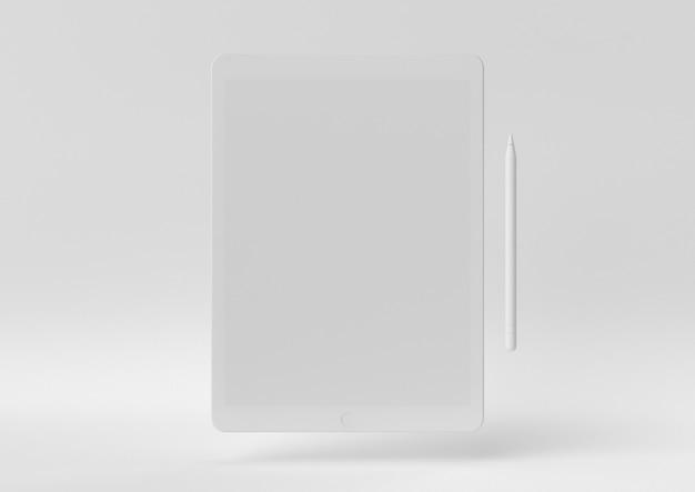 Creatief minimaal papieridee. concepten witte tablet met witte achtergrond. 3d render, 3d illustratie.