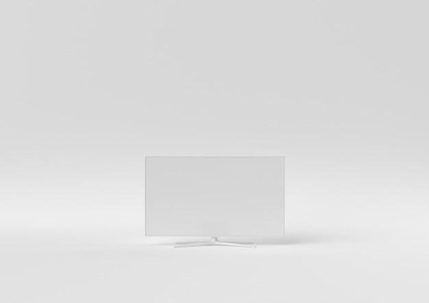 Creatief minimaal papieridee. concepten witte tv met witte achtergrond. 3d render, 3d illustratie.