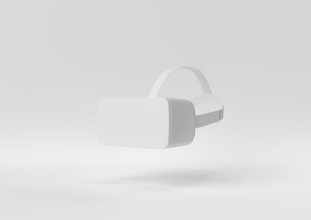 Creatief minimaal papieridee. concepten witte vr met witte achtergrond. 3d render, 3d illustratie.