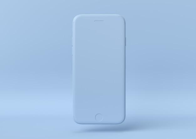 Creatief minimaal zomeridee. concept blauwe iphone met pastel achtergrond. 3d render.
