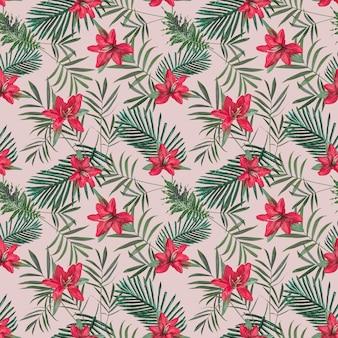 Creatief naadloos tropisch patroon met bloemen en ananas op roze pastelkleurmuur. natuur concept