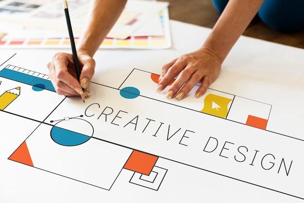 Creatief ontwerp, ontwerper man aan het werk
