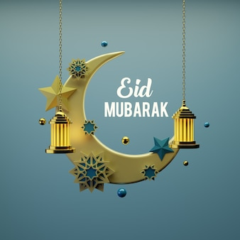 Creatief ontwerpconcept van de islamitische viering van eid al fitr. premium foto