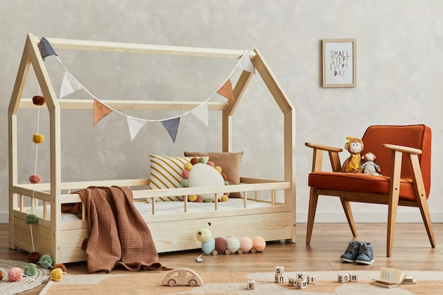 Creatief scandi kinderkamerinterieur met mock-up posterframe knuffels en decoratiestemplate