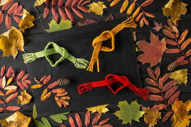 Creatief stilleven herfst compositie, frame gemaakt van herfstbladeren en sjaal,