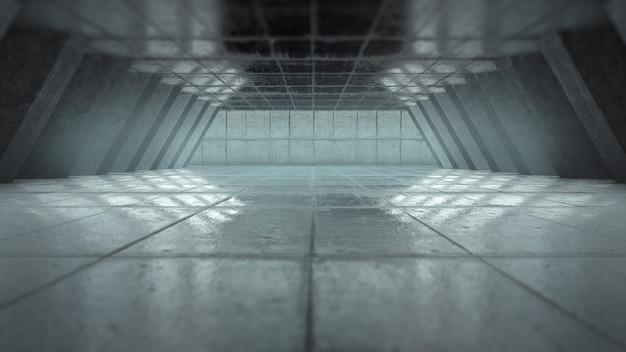 Creatieve achtergrond, abstracte lege kamer interieur met betonnen muren, betonnen vloer en betonnen plafond. 3d-rendering, kopie ruimte.