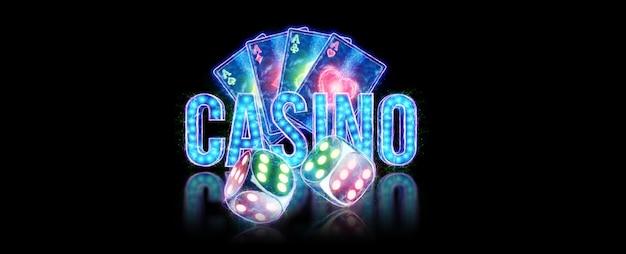Creatieve achtergrond belettering casino, speelkaarten en dobbelstenen neon letters op een donkere achtergrond. gokconcept, folder, flyer, koptekst voor de site. 3d illustratie, 3d-rendering.
