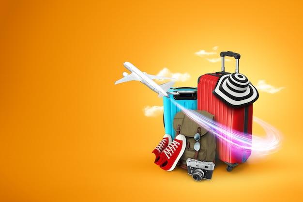 Creatieve achtergrond, rode koffer, sneakers, vliegtuig op een gele achtergrond.