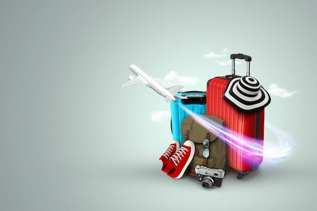 Creatieve achtergrond, rode koffer, sneakers, vliegtuig op een grijze achtergrond.