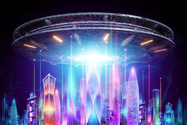 Creatieve achtergrond, ufo-plaat zweeft over de nachtstad in neonlichten. aliens, aliens, contact, invasie concept. 3d-rendering, 3d-afbeelding.