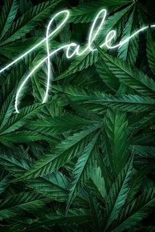 Creatieve achtergrond van cannabisbladeren, marihuana en een neonreclame sale. plat lag kopie ruimte,