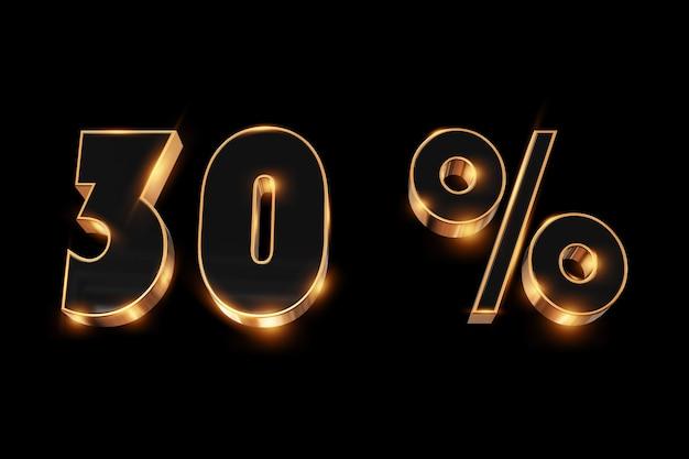 Creatieve achtergrond, winteruitverkoop, 30 procent, korting, 3d gouden nummers.