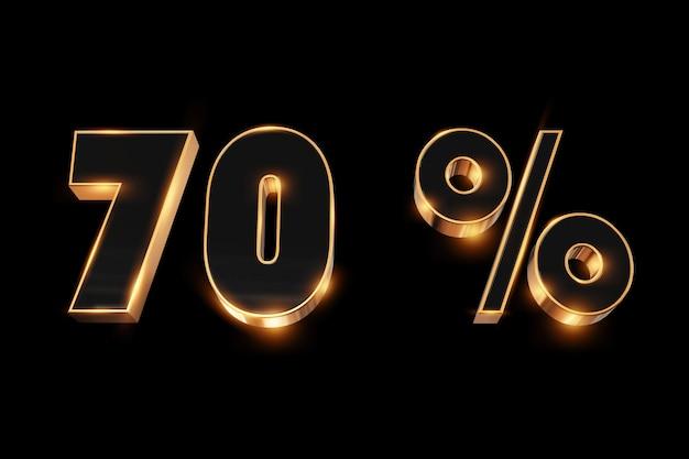Creatieve achtergrond, winteruitverkoop, 70 procent, korting, 3d gouden nummers.