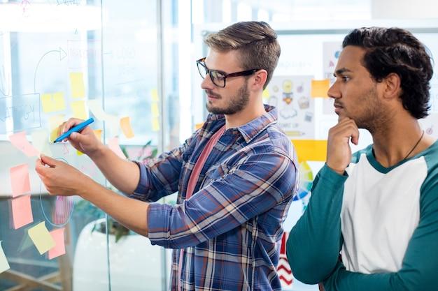 Creatieve business team schrijven op de plaknotities in kantoor
