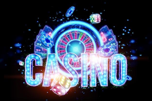 Creatieve casino achtergrond, inscriptie casino in neon letters speelkaarten roulette op een donkere achtergrond. folder. gokconcept, koptekst voor de site. ruimte kopiëren. 3d illustratie, 3d render.
