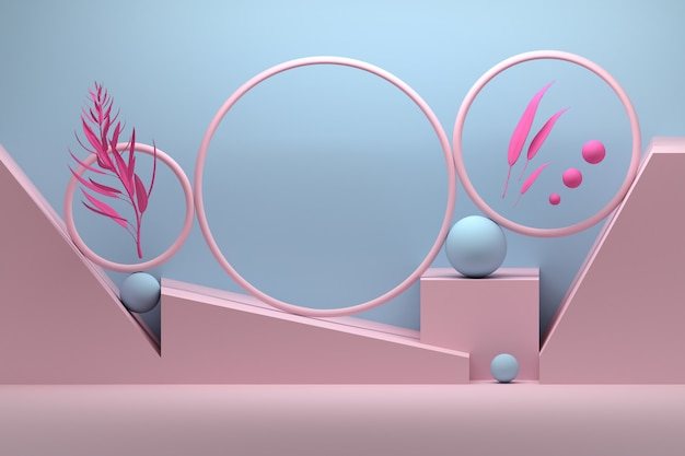 Creatieve compositie met ringen, bollen en plantentakken