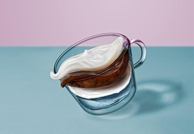 Creatieve compositie van koffiedrank - vliegende lagen water, koffie, melk, romig schuim in een glazen beker die boven het oppervlak van de blauwe tafel beweegt.