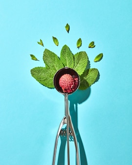 Creatieve compositie van lychee fruit met muntblaadjes in de metalen lepel voor ijs op een blauwe glazen achtergrond met schaduwen. eten moderne stijl, bovenaanzicht.