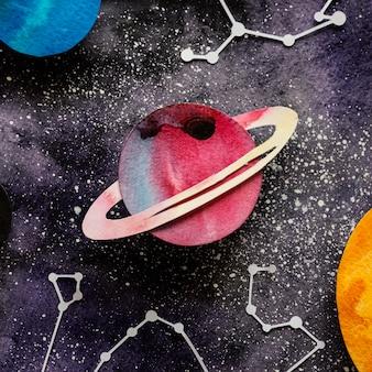 Creatieve compositie van papieren planeten