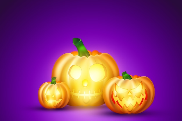Creatieve halloween-achtergrond. pompoen op een paarse achtergrond.