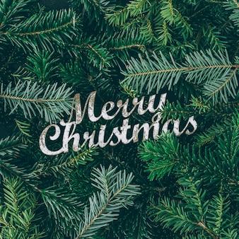 Creatieve lay-out gemaakt van kerstboomtakken met merry christmas-teken. plat leggen. natuur nieuwjaar concept.